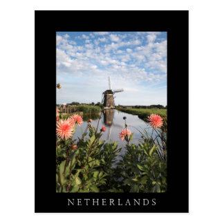 Molino de viento y flores, tarjeta negra vertical