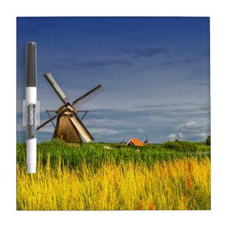 Molinoes de viento en Kinderdijk, Holanda, Países Pizarra