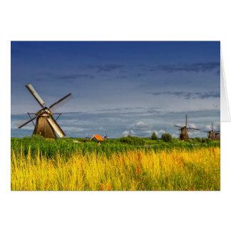 Molinoes de viento en Kinderdijk, Holanda, Países Tarjeta