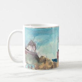 Molinoes de viento famosos de Mykonos en una taza