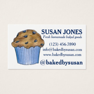 Mollete del arándano cocido por los pasteles de la tarjeta de negocios