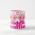 Molletes rosados de la abrazo taza