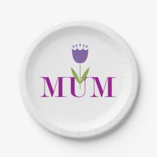 Momia floral plato de papel