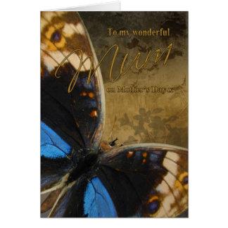 Momia, tarjeta del día de madre con las mariposas