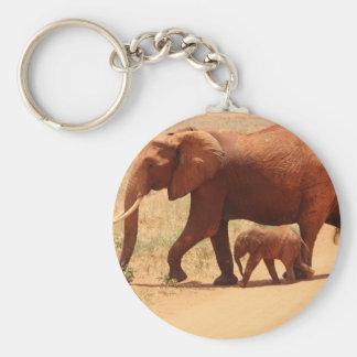 Momia y Cub del elefante Llavero Redondo Tipo Chapa