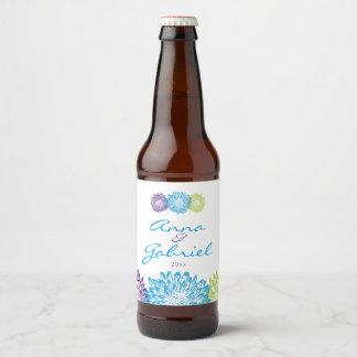 Momias florales imponentes, florales etiqueta para botella de cerveza
