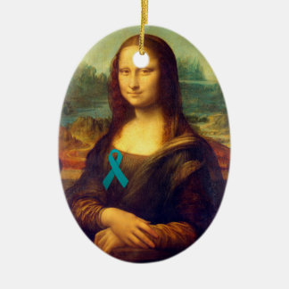 Mona Lisa con la cinta del trullo Adorno Ovalado De Cerámica