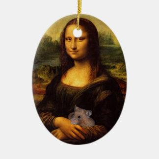 Mona Lisa dulce ama hámsteres Adorno Ovalado De Cerámica