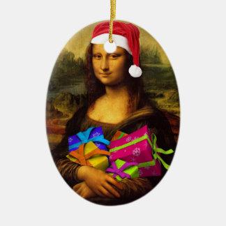 Mona Lisa en humor del navidad Adorno Ovalado De Cerámica