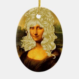 Mona Lisa rubia Adorno Ovalado De Cerámica