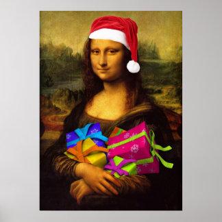 Mona Lisa viene como Papá Noel Póster