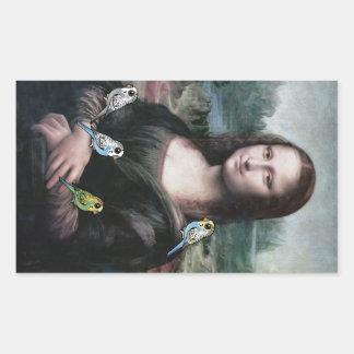 Mona Lisa y Budgies Pegatina Rectangular