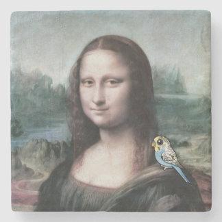 Mona Lisa y Budgies Posavasos De Piedra