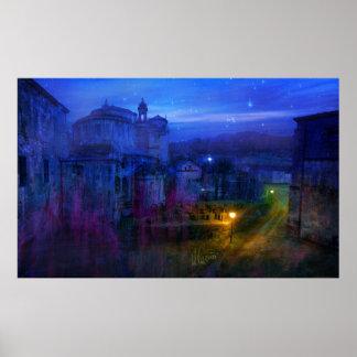 Monastery at night póster