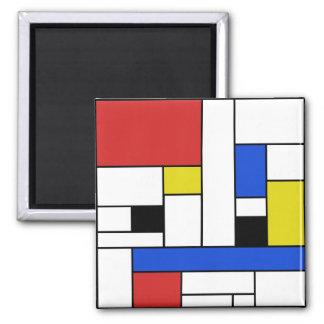 Mondrian alinea el imán cuadrado de 2 pulgadas