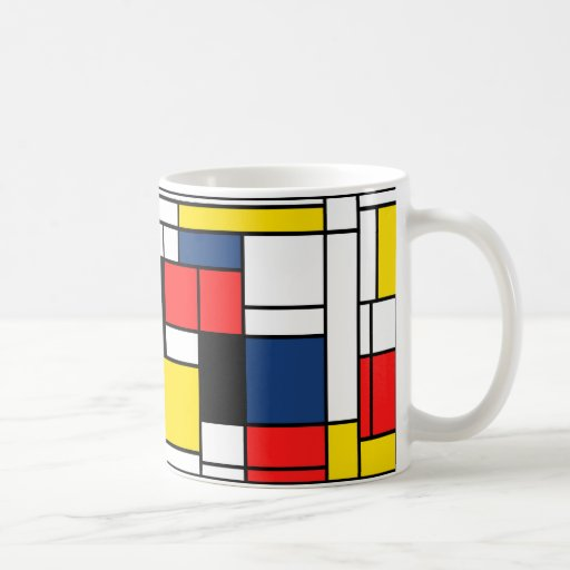 ¡Mondrian bebe aquí! Taza