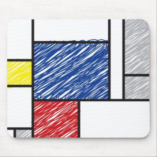 Mondrian garabatea el arte de Stijl del Minimalism Alfombrilla De Ratón