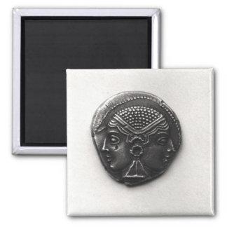Moneda de Lampsacus con una cabeza de Janiform Imán Cuadrado