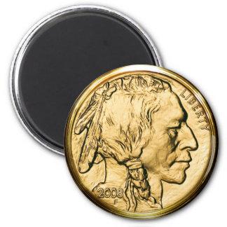Moneda de oro del nativo americano imán