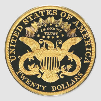 Moneda doble de $20 Eagle (paquete de 6/20) Pegatina Redonda
