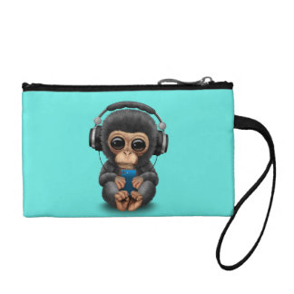 Monedero Chimpancé del bebé con los auriculares y el