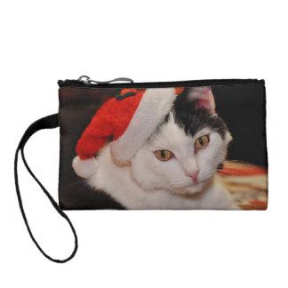 Monedero Gato de Papá Noel - Felices Navidad - acaricie el