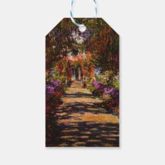 Monet-Camino de Claude en el jardín de Monet en Etiquetas Para Regalos