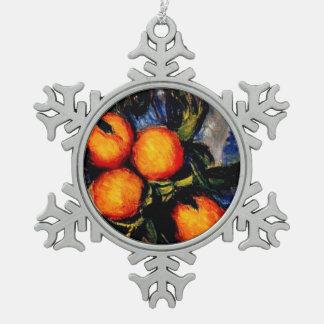 Monet - fruta anaranjada del transporte de la rama adorno de peltre en forma de copo de nieve
