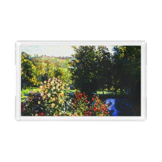 Monet-Rosas de Claude en el jardín en Montgeron Bandeja Acrílica