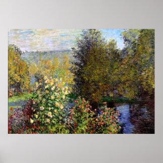 Monet - una esquina del jardín en Montgeron Póster