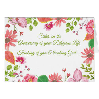 Monja, aniversario de la vida religiosa, tarjeta de felicitación