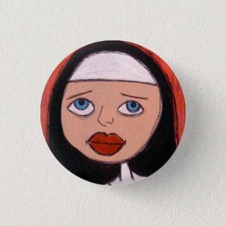 monja con el botón rojo grande de los labios