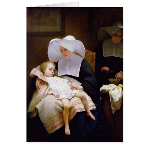 Monja que cuida para un niño enfermo felicitación