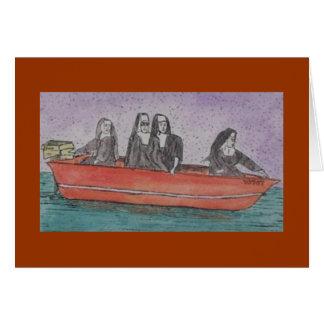 monjas en un barco tarjeta