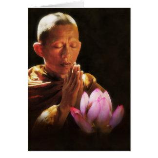 Monje budista en rezo y Lotus Tarjeta