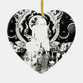 Monje tailandés, PU Dul de Luang Adorno Navideño De Cerámica En Forma De Corazón