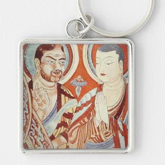 Monjes budistas asiáticos centrales llavero cuadrado plateado