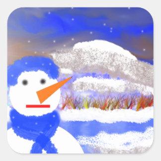 Mono de Nieve Pegatina Cuadrada