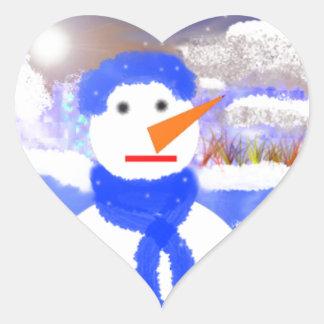 Mono de Nieve Pegatina En Forma De Corazón