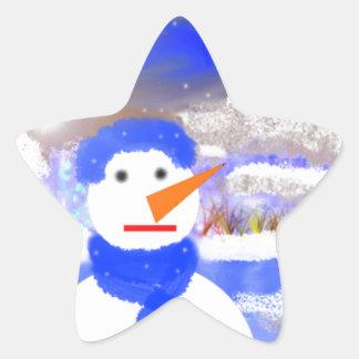 Mono de Nieve Pegatina En Forma De Estrella
