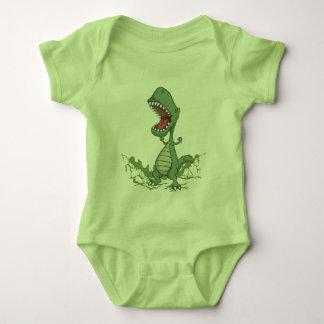 Mono del bebé del dinosaurio verde body para bebé