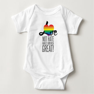 Mono del bebé del odio del amor no (arco iris) body para bebé