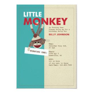 ¡Mono del calcetín Invitación-Que da vuelta a uno! Invitación 11,4 X 15,8 Cm