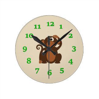 Mono del dibujo animado reloj redondo mediano