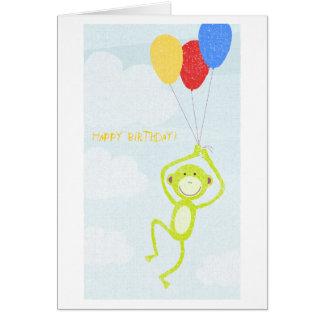 Mono del feliz cumpleaños (texto editable) tarjeta de felicitación
