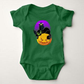 Mono del jersey del bebé del gatito y del búho