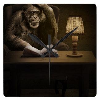 Mono del mono del chimpancé reloj cuadrado