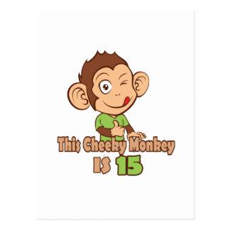 Mono divertido cumpleaños de 15 años postal