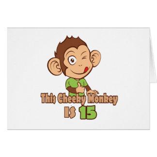 Mono divertido cumpleaños de 15 años tarjeta de felicitación