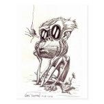 Mono feo con la flor e insecto (postal)